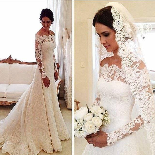 2021 Abito da sposa in pizzo A-line maniche lunghe sexy off spalla vintage su misura sweep sweep abiti da sposa abiti da sposa
