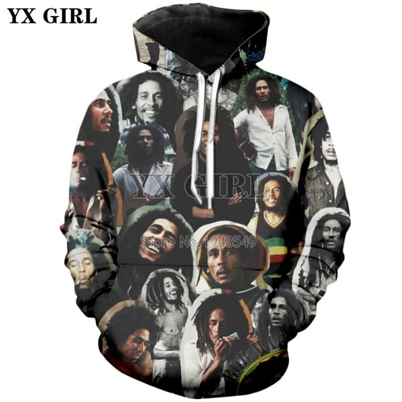 Plstar Cosmos HiPhop Reggae Bob Marley Tracksuit Streetwear Unisexe New Mode Pullover 3DPrint à manches longues à manches longues / veste A-4 Y201006