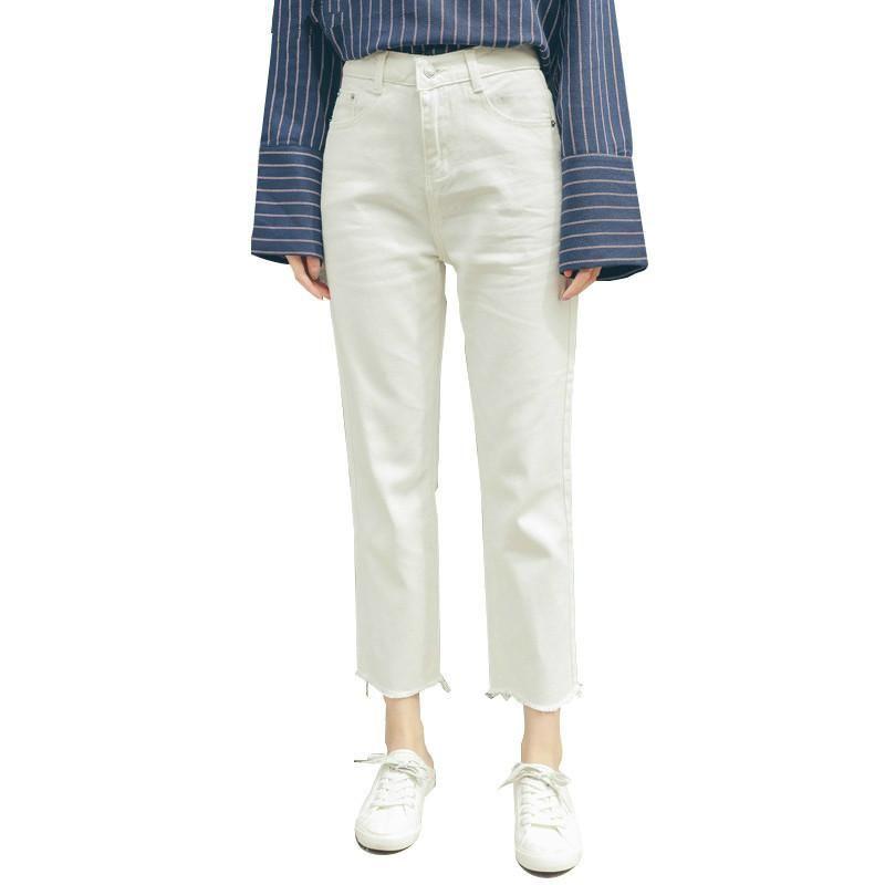Белые джинсы женщина New Опрятный Повседневный стиль Сыпучие высокой талией голеностопного Длина Широкие ноги джинсы штаны Boyfriend Платье