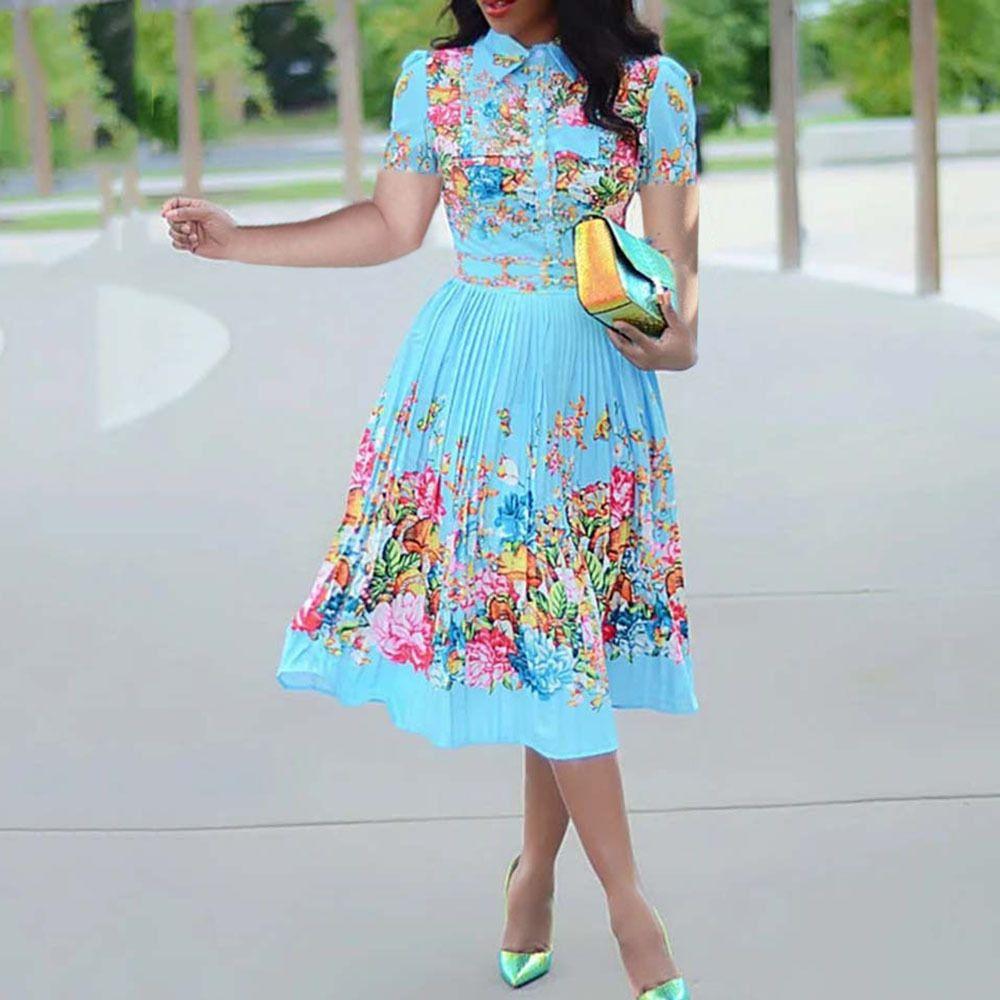 Caída de manga larga Mujer plisada Floral Vestido de impresión 2020 elegante femenino talla grande Oficina africana señoras Vintage Midi vestido retro J1215