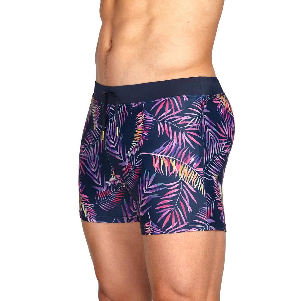 Hot Sell Mens Hi-Q Swimming Trunks Tight Pouch Leaves Boxer Shorts Invisible Zipper with Pocket Swimwear Hombre Surf Swim Suit