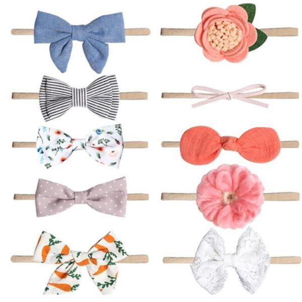10pcs / lot Baby Girl Fandbands and Bows Flower Hairbands Capelli di nylon Fascia per capelli Accessorio per capelli Set per neonati Neonati Toddlers