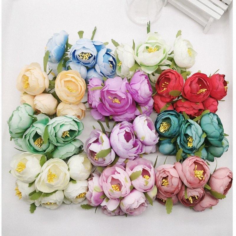 fiore di seta bouquet è ghirlanda fai da te degli pneumatici copricapo fiore corpetto, scarpe fiori 6 filiali e scatola gioiosa della decorazione kZGb #