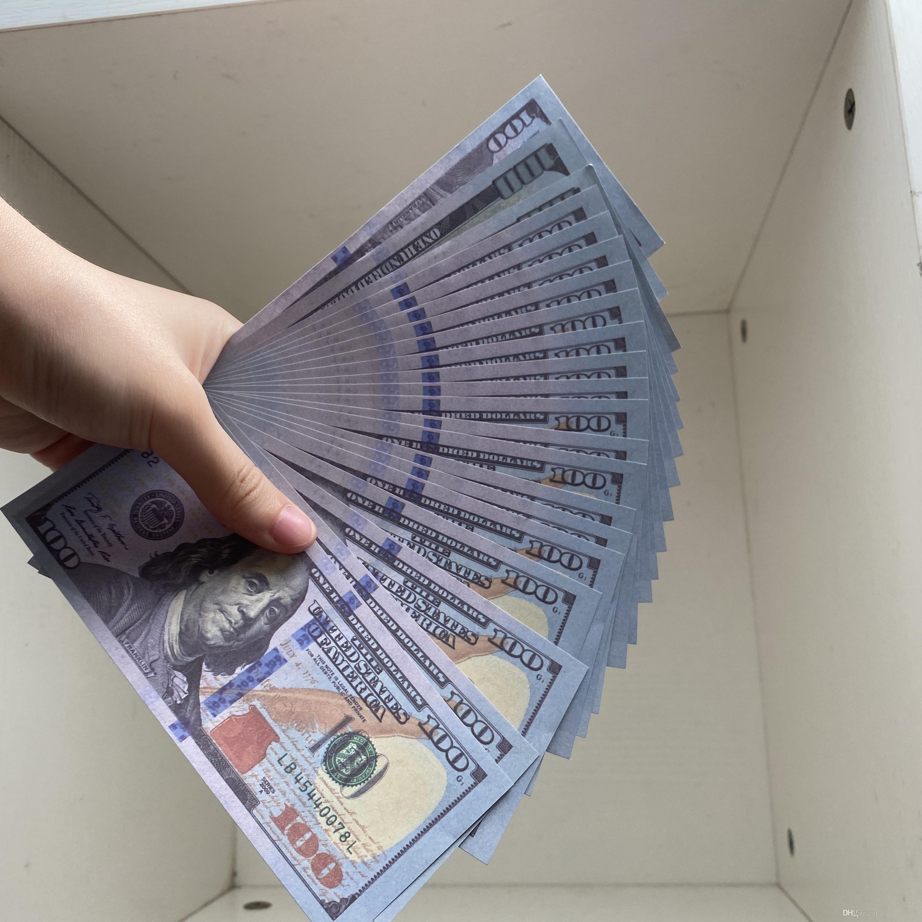 Banknote oder 100pcs / Pack Kinder Familien-Prop-Spiel-Kopie Realistisches Papier Geld US-am meisten / Euro / Dollar-Spielzeug323 HWBIB