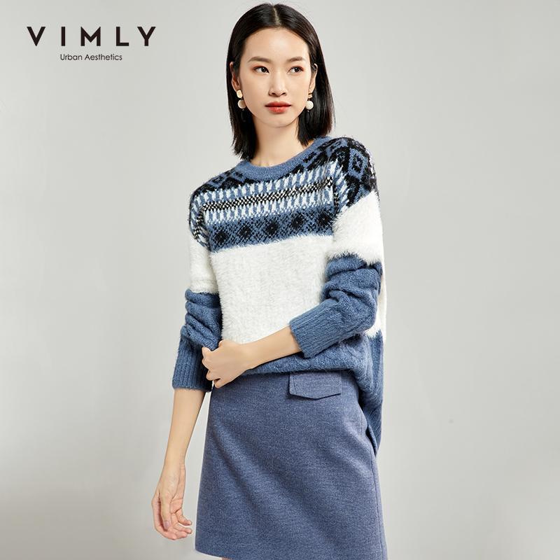 Vimly femmes pull en tricot Automne Vintage O Neck Modèle de crochet en vrac épais élégant Vêtements femme Femme Pull Tops 99182 201017