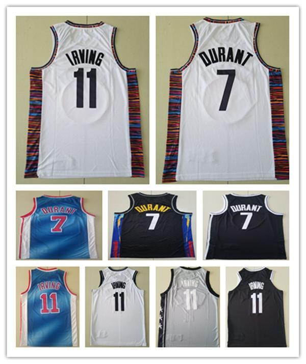 Yüksek Kalite Erkek Kevin 7 Durant Kyrie 11 Basketbol Irving Formalar Siyah 2021 CityBlue Üniforma Geri 100% Dikişli Basketbol Şort