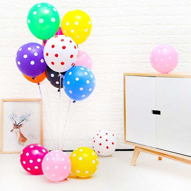 100pcs / lot bunte Tupfen-Ballone verdicken Latexballons aufblasbaren Kugeln Hochzeit Geburtstag Festival-Party-Ballon-Dekor GGD2701