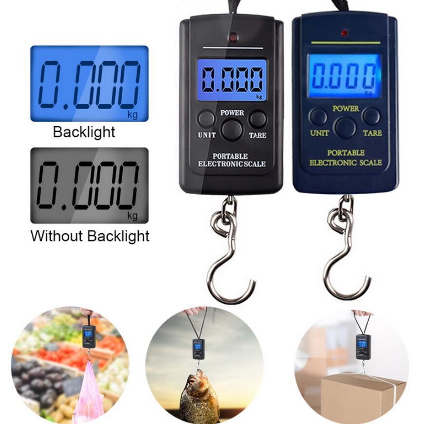40 kg x 10g Mini scala digitale per il bagaglio da pesca ponderazione di viaggio Steelyard portatile elettronico hanging gancio ingannare strumento di pesatura