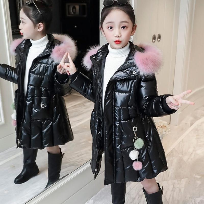 Genç Kızlar Sıcak Coat Kış Parkas Dış Giyim Genç Kıyafet Çocuk Çocuk Genç Kız Kürk Kapşonlu Elbise 5 6 8 10 12 Years 0927 için