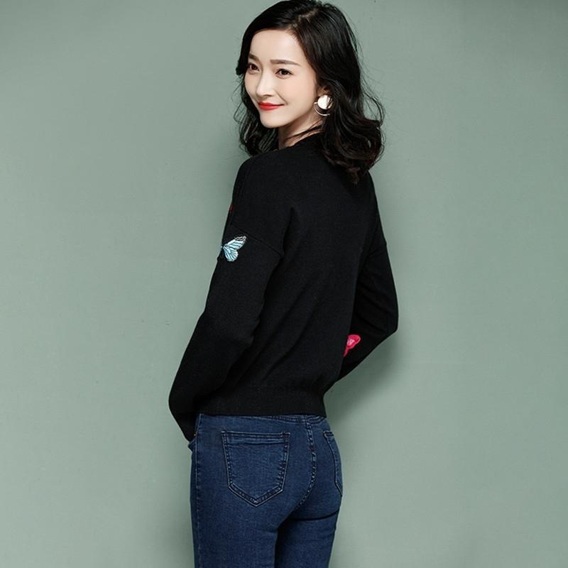 Suéter das mulheres de inverno e pulôver de malha borboleta de malha apliques suéter topo manga longa mulheres casual sweater fem y200116