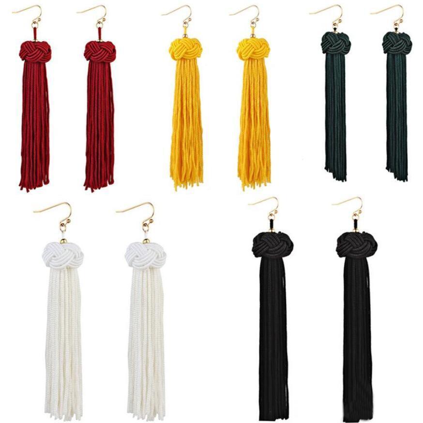 Kadınlar Avrupa için Vintage Etnik Bohemya El yapımı Uzun Püskül Küpe Boho Dangle Bırak Küpe 5 Renkler Exaggerated