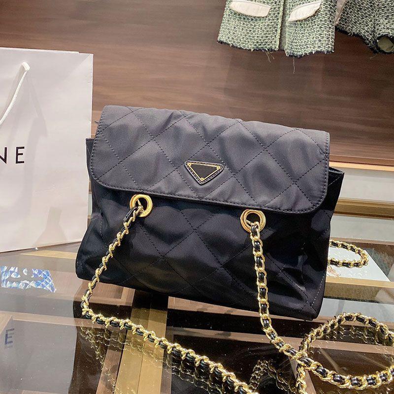 Monedero de damas Cadena de Crossbody Black Cadena de Nylon SplAP Bolsa Cadena Hombro Calidad High Bag Messenger Bags Islog