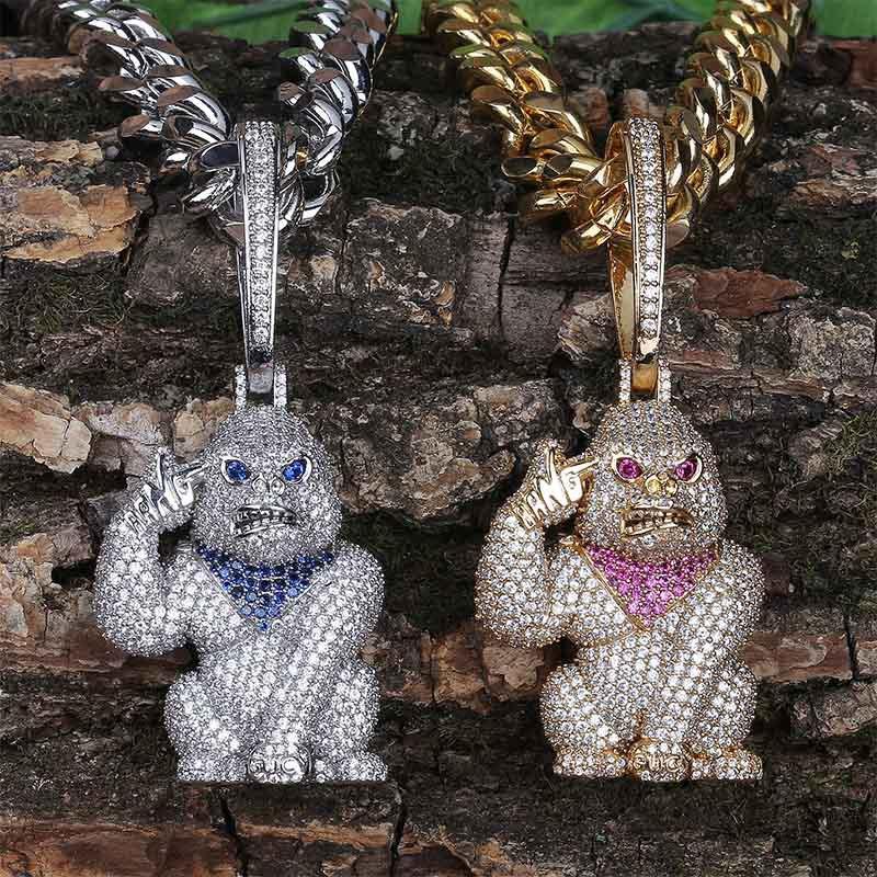 Gorilla Big Button Big Hanging Hip-Hop-Halskette KubikZircon Kupfer-Halskette Iced Out Kette Halskette