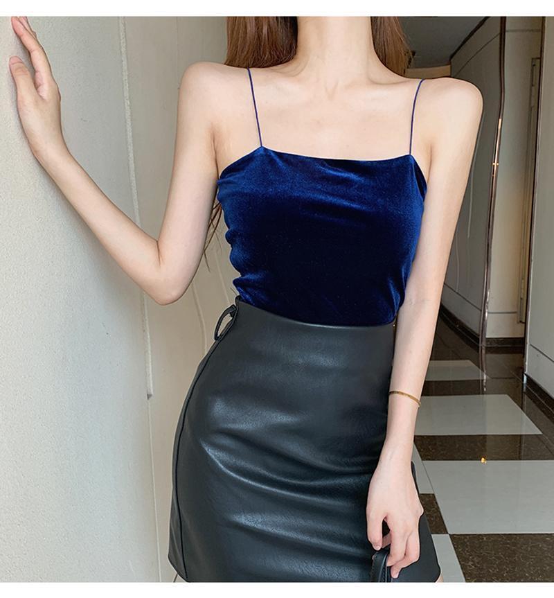 Velvet Vintage camisoles femmes Taille Plus Sexy Slim cuissard Hauts recadrée Sling 6 couleurs Gilet creux