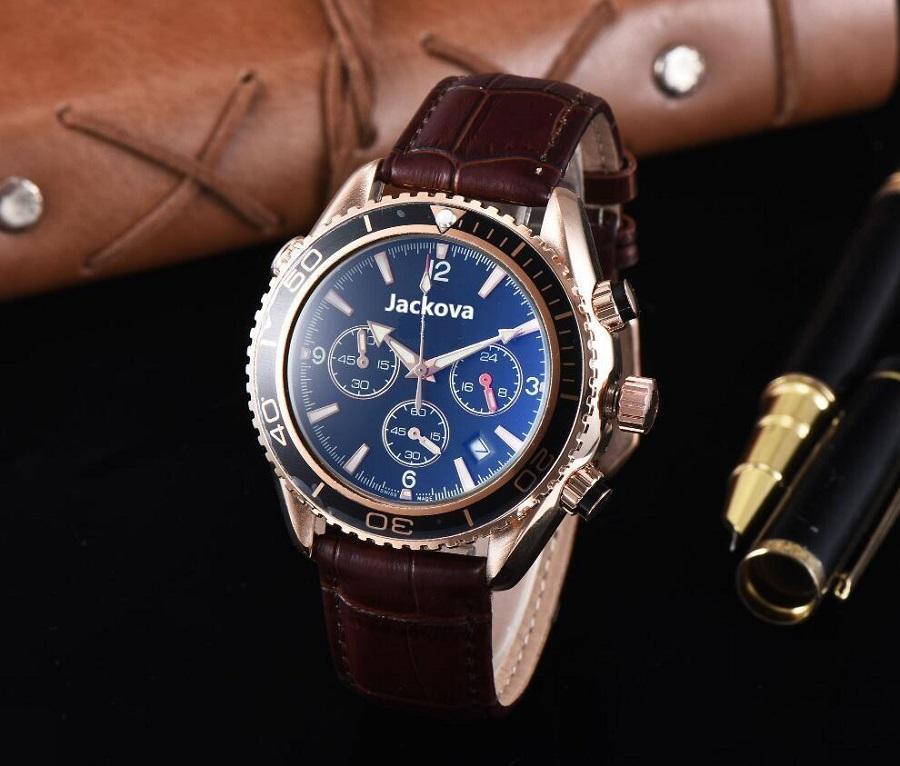 모든 다이얼 작업 저렴한 러닝 스톱워치 망 시계 럭셔리 쿼츠 캘린더 손목 시계 가죽 스트랩 패션 비즈니스 남자 시계 도매