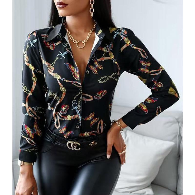 2021 Mulheres Casual Camisas Borboleta Cadeia Cópia Blusa Botão de Manga Longa Botão Design Camisa Escritório Senhora Tops W1221