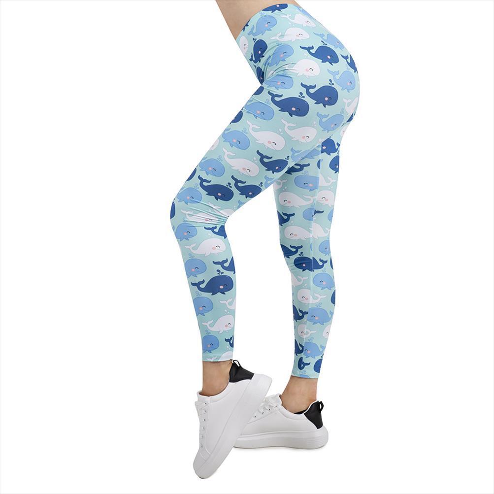 Kadınlar Legging mutlu balinalar Baskı Leggins İnce Yüksek Elastikiyet Legins Spor Tozluklar Kadın Pantolon Damla Nakliye