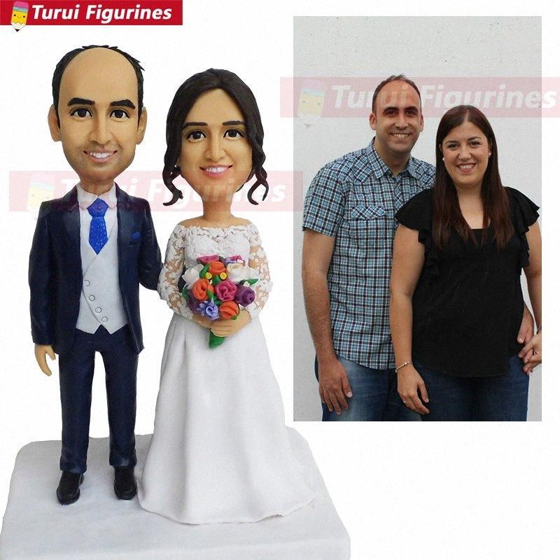 kızı oğul özel ile kral ve kraliçe aşık kaban düğün pastası gelin personlized ve heykelcik küçük heykel 8Enu # damat bobblehead