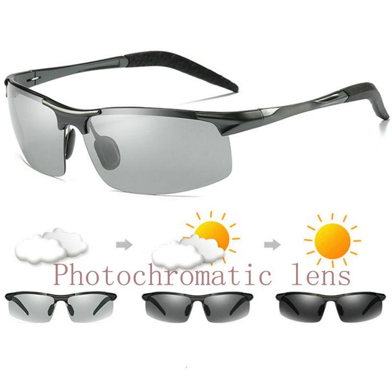 Мужская переходная мода алюминиевые очки фотохромные объектива вождения солнцезащитные очки очки uv400 очки поляризованные зеркальный hvafb
