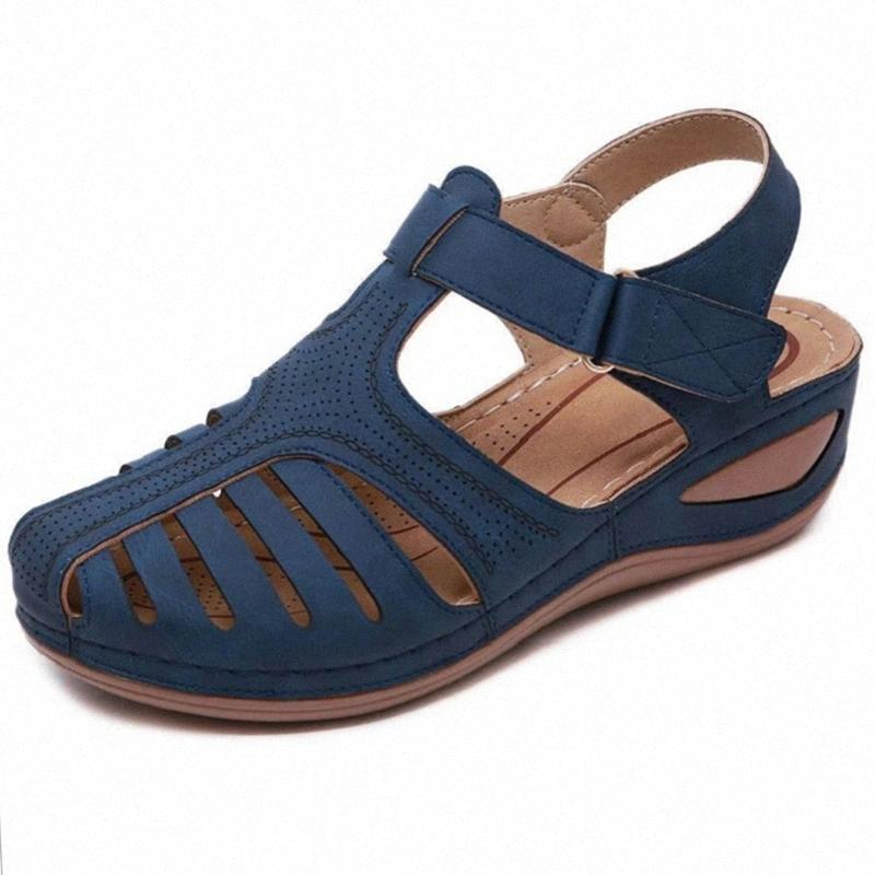 Schuhe Neue Frauen Sandalen Plattform Sandalias Sandalen # BX5K Retro Nähen Frauen 2021 Weibliche Damen Schnalle Wedge Vintage Plus Größe Casual Timsw