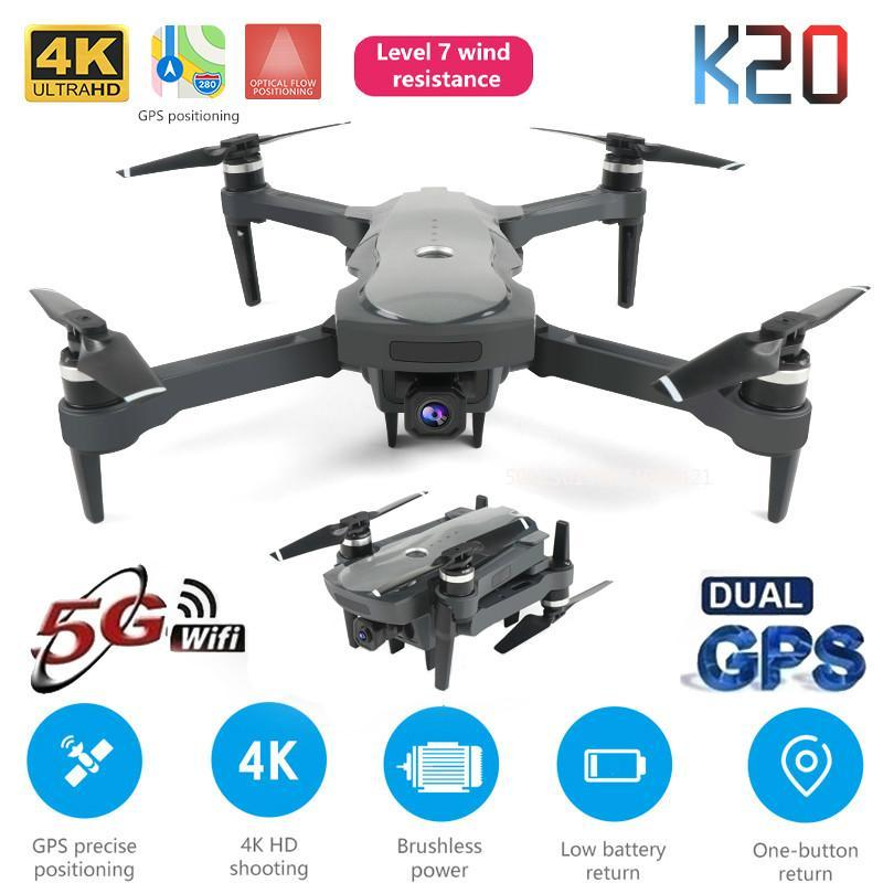 New Drone K20 mit Brushless-Motor 5G GPS 4K HD Dual-Kamera Professionelle faltbare Quadcopter 1800M RC Entfernung Spielzeug Jungen Geschenk