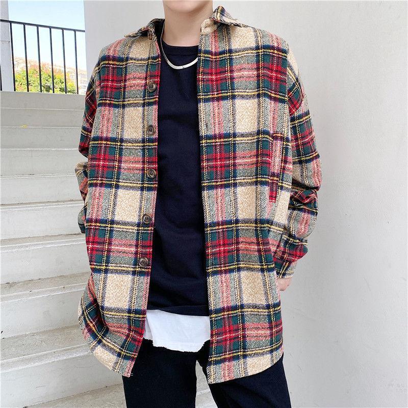Coreano Brasão da manta Retro Moda Masculina Casual casaco comprido de lã Men Overcoat selvagem solto Outono Inverno Oversize lã Mens