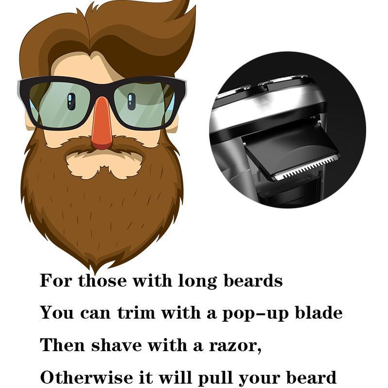 Rasoir électrique rechargeable 3D triple tache flottante de lame de lame de rasoir de soin facial de la barbe de la barbe pour hommes lavable