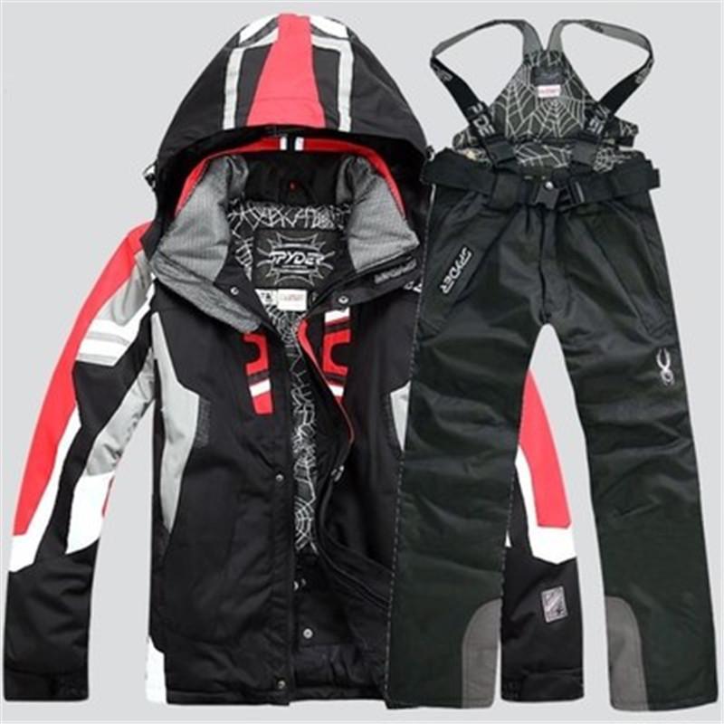 Nuevos Hombres Cálidos Snowboarding Trajes Hombres Invierno Traje de Esquí Masculino Impermeable Impermeable Snow Jacket + Juego de Esquí Pant Set de Snowboard 201104