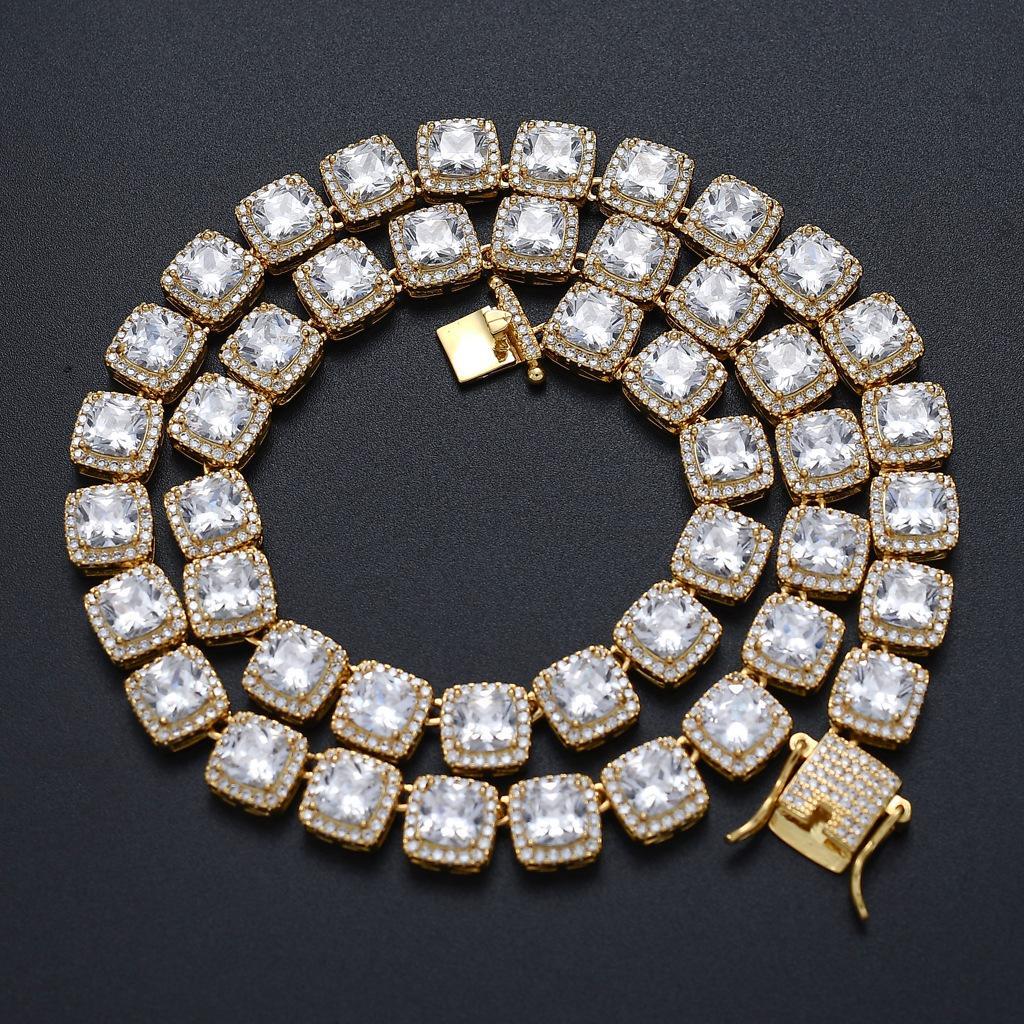 10mm Mens Iced Out Diamond Tennis Catena di tennis Braccialetto di alta qualità Zircone quadrato Zircone 7inch-24inch Hip Hop Bling Cains Jewelry