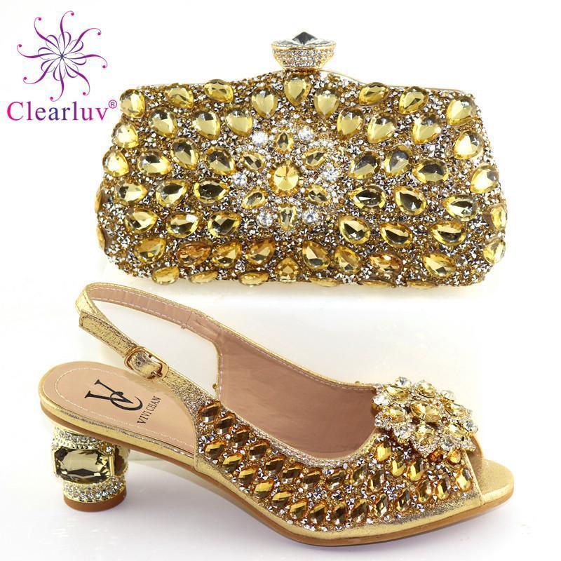 أزياء السيدات الأفريقي مطابقة حذاء وحقيبة بو الأحذية الإيطالية وحقائب تعيين لحزب النساء حذاء حقيبة لمباراة مع Crystaj
