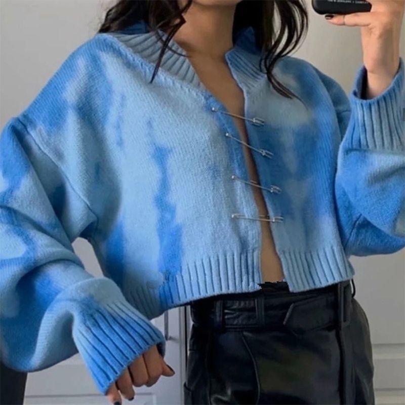 Kadınlar Uzun Kollu Kravat Boya Kazak Ceket Güvenlik Pin Açık Ön Örme Hırka V Yaka Boyu Gevşek Dış Giyim Kırpma Üst H1211