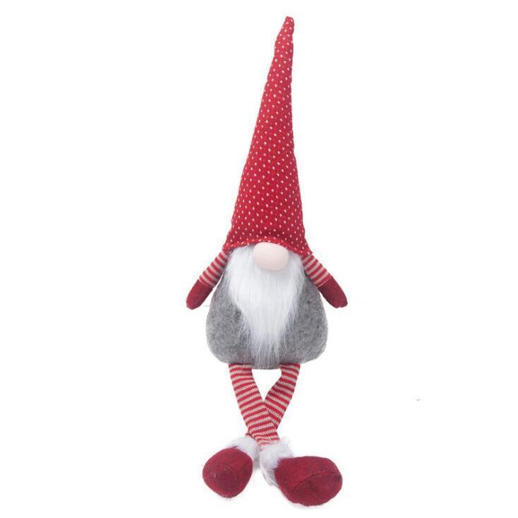 Noël Pas de visage Poupées Santa Claus Assise Figure Noël Santa Santa Long Jambes Poupée Dessin animé Funny Noël Cadeaux Noël Toys de Noël DDC4318