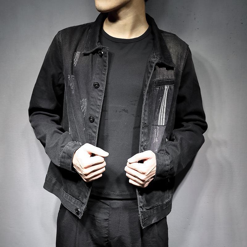 İlkbahar Sonbahar Yeni Katı Renk Erkekler Denim Moda Basit erkek Yıkanmış Slim Fit Retro Siyah Jean Ceket Kaban Artı Boyutu 5XL