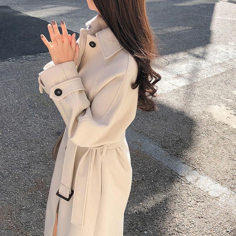 대학 스타일 모직 코트 여성 패션 플러스 사이즈 턴 다운 칼라 포켓 싱글 브레스트 벨트 캐시미어 블렌드 오버코트