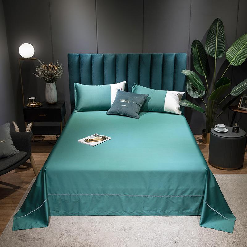 1 PC Algodón Egipcio Hoja de Color Sólido Color Sólido Lenzuola Matrimoniali Ropa de cama Twin Full Reina King