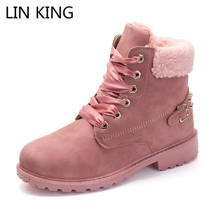 لين الملك جديد دافئ أفخم النساء الشتاء الأحذية الدانتيل يصل السيدات المسامير القطن مبطن قصيرة بوتاس الصلبة سلامة العمل الأحذية