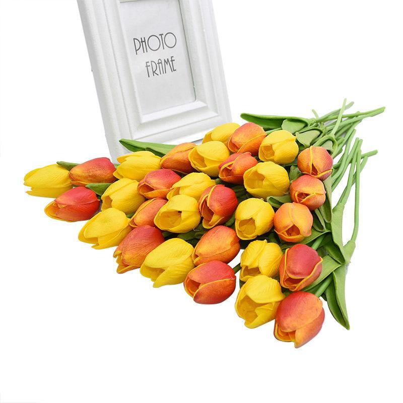 30шт тюльпаны Mix Color Real сенсорный Искусственный латекс Цветы Свадебные украшения Главная партия стол Декор Tulip букет C0930