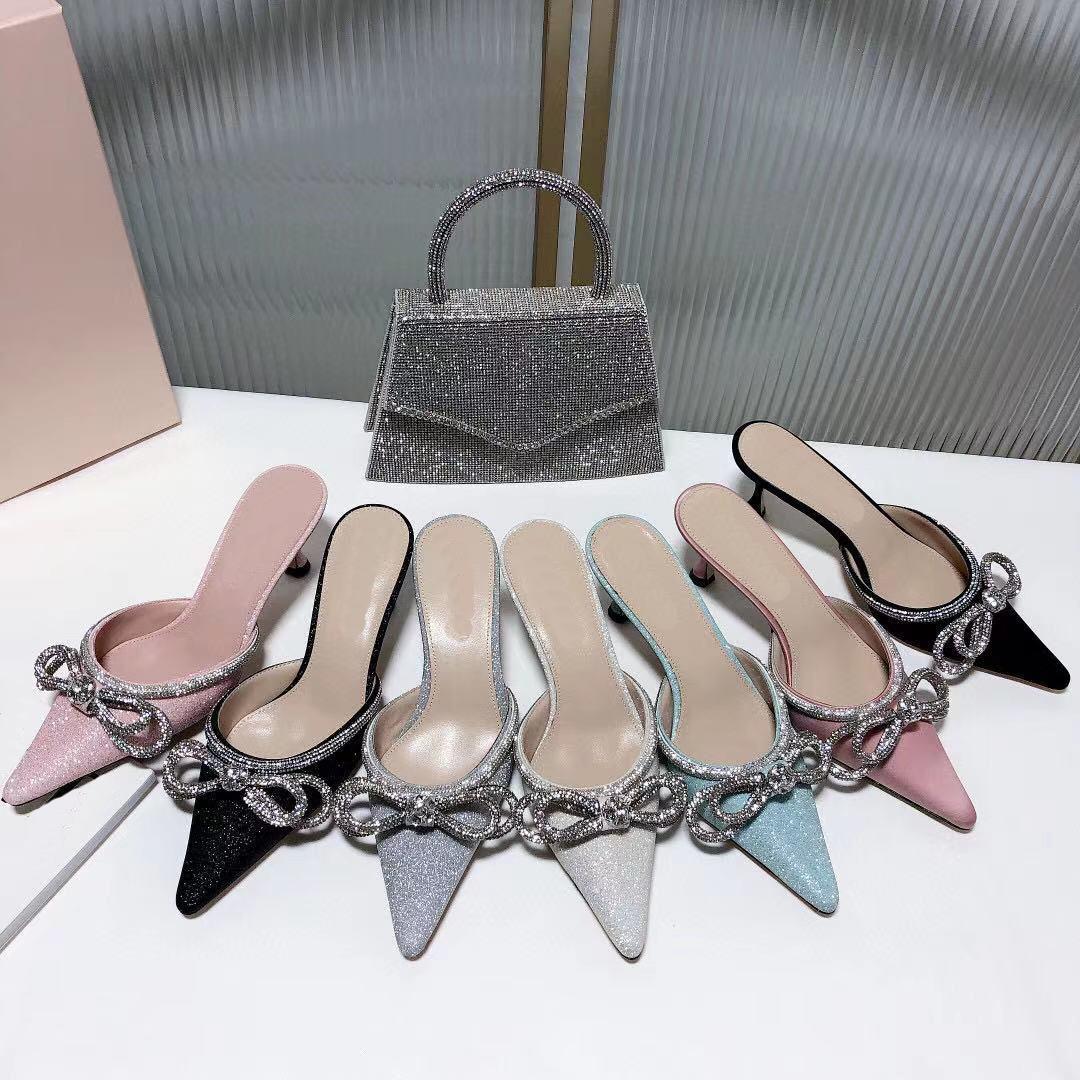 Sandálias de salto médio de alta qualidade New Summer Chinelos de Verão Baotou Sexy Bow Diamante Medidor Sandálias Original tamanho 35-41