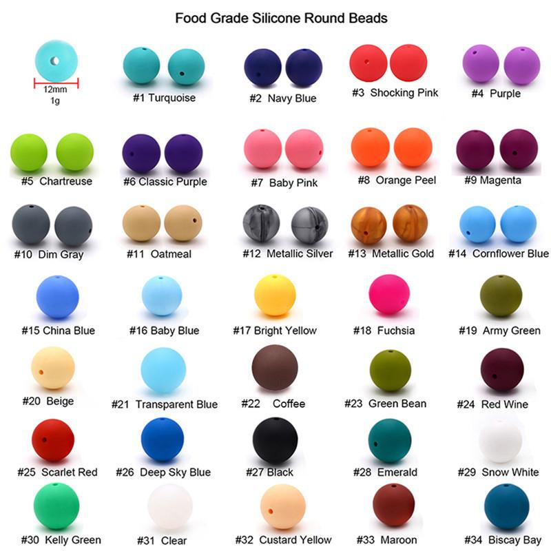 100pcs Silicone Round Beads 12mm Eco-friendly Sensory Baby Teething Necklace Food Grade Mom Nursing DIY Jewelry Baby Teethers 201123