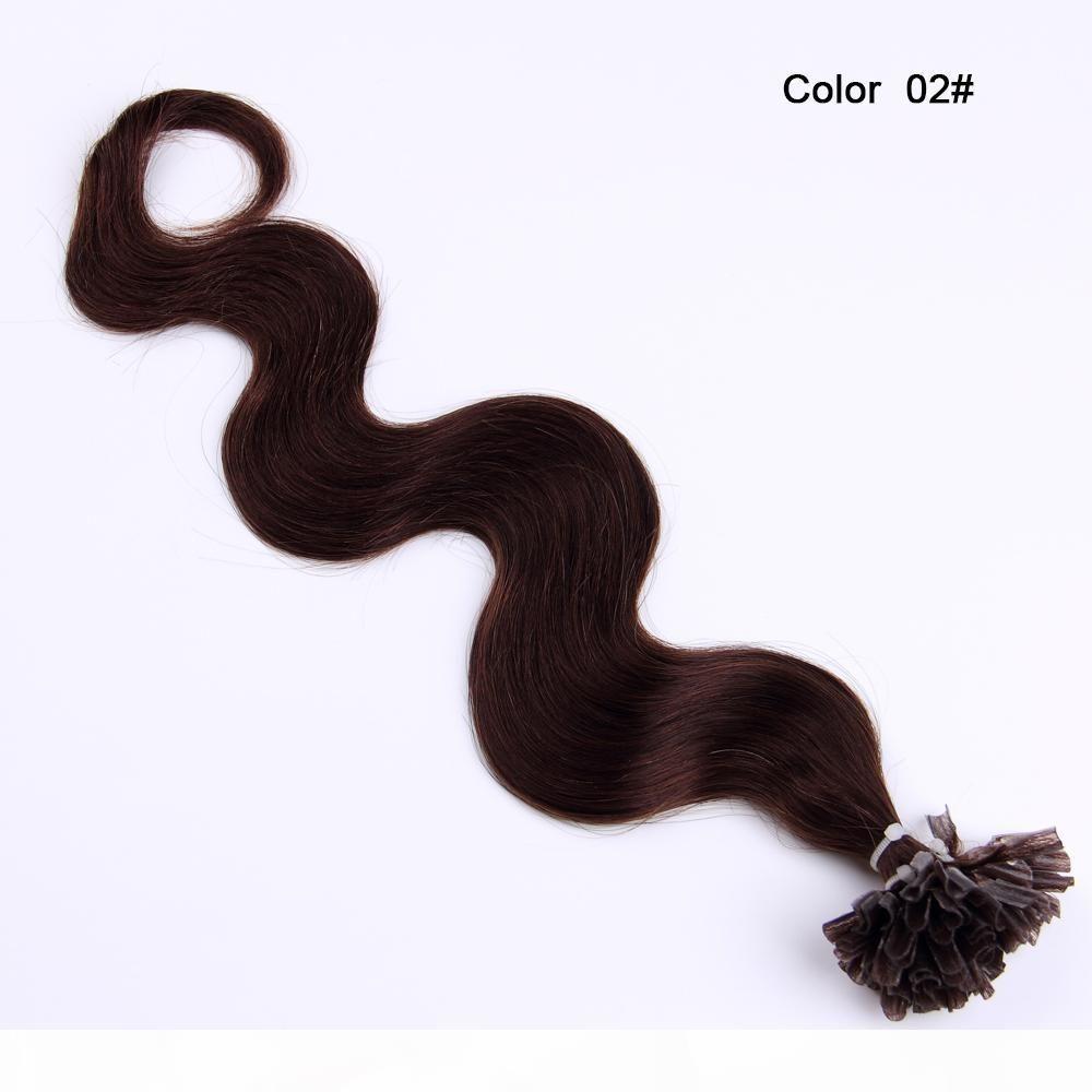 8A 100% cheveux humains ongles U Astuce cheveux brins 100 brins 1 g beaucoup vague du corps humain Extensions cheveux