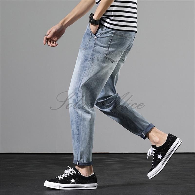 Freies verschiffen 2020 männer neue sommer ultradünne mode high-end jeans lose füße harem casual hosen retro blau