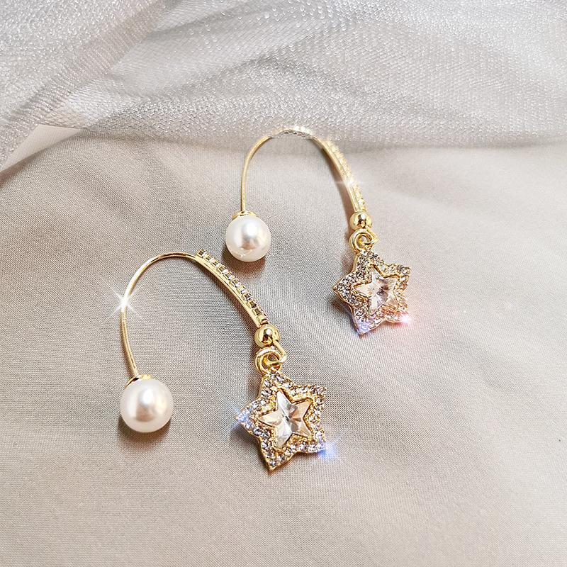 쥬얼리 선물을 만드는 여성을위한 925 스털링 실버 가리치 귀걸이 웨딩 파티 약혼 여성 스터드 귀걸이 큐빅 지르코니아 팝 후크 귀걸이