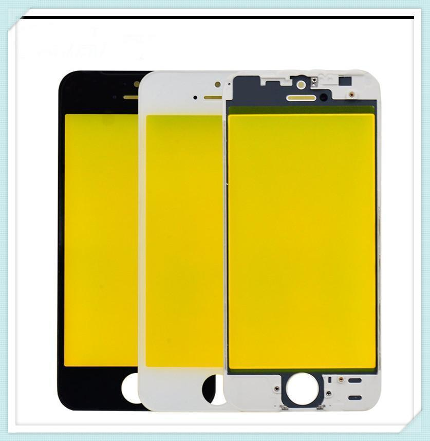 Outer Glass With Middle Frame Bezel For Iphone 5 5s 5g 5c Pre -Assembled Front Glass Lens With Frame Black White Free Shipping