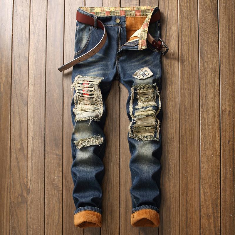 Vente chaude! Pantalon de jeans chaleureux d'hiver pour hommes en molleton détruit des pantalons en jean déchiré épais jeans thermiquement en détresse pour hommes vêtements