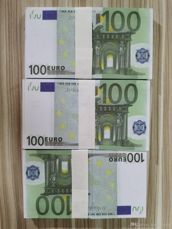 Party Dekoration Geld Nighclub Banknote 100pcs / Pack Atmosphäre Bar 100 Movie Euro Geld Gefälschte Bühnenspielzeug Prop 01 MWOPX