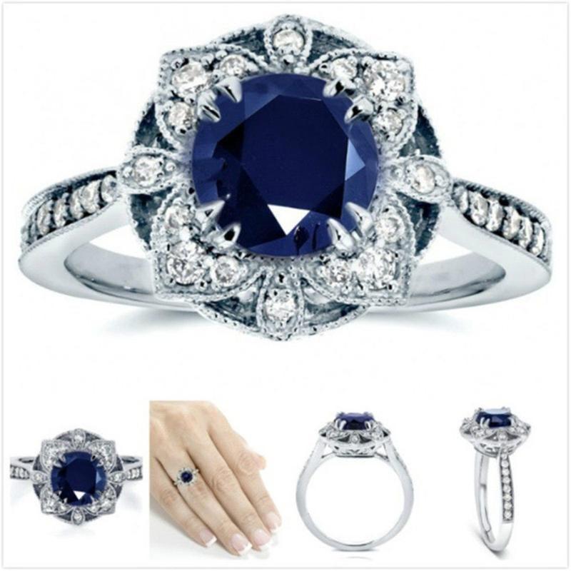 gli anelli di nozze USTAR fiore di lusso per i monili di modo delle donne blu lucido cubi impegno zircone stelle anelli regalo anel femminile