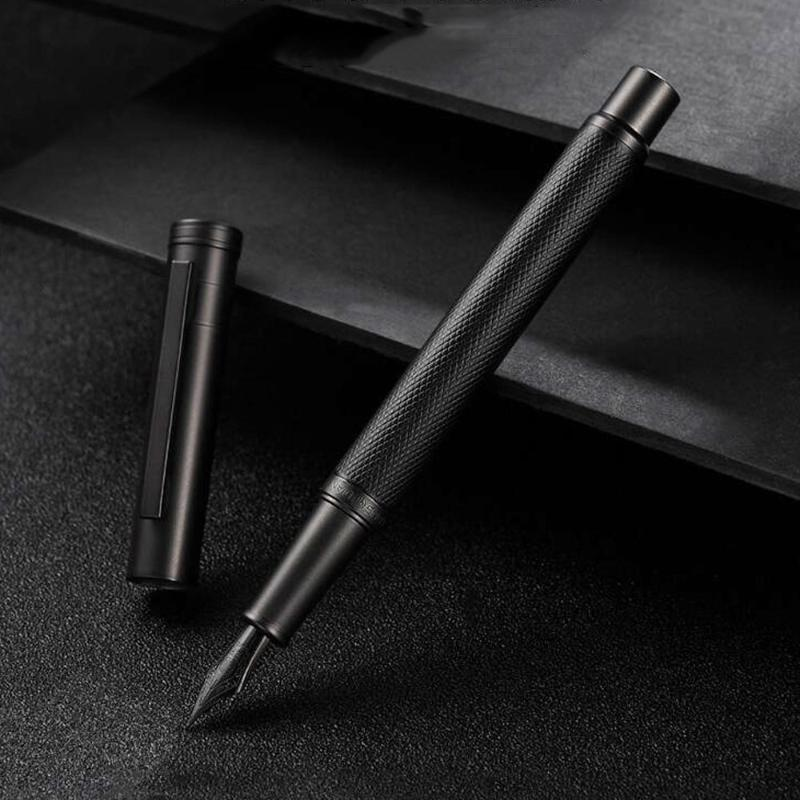 Dolma kalem kalite Hongdian 1850 siyah kalem titanyum nib ofis okul mürekkep malzemeleri