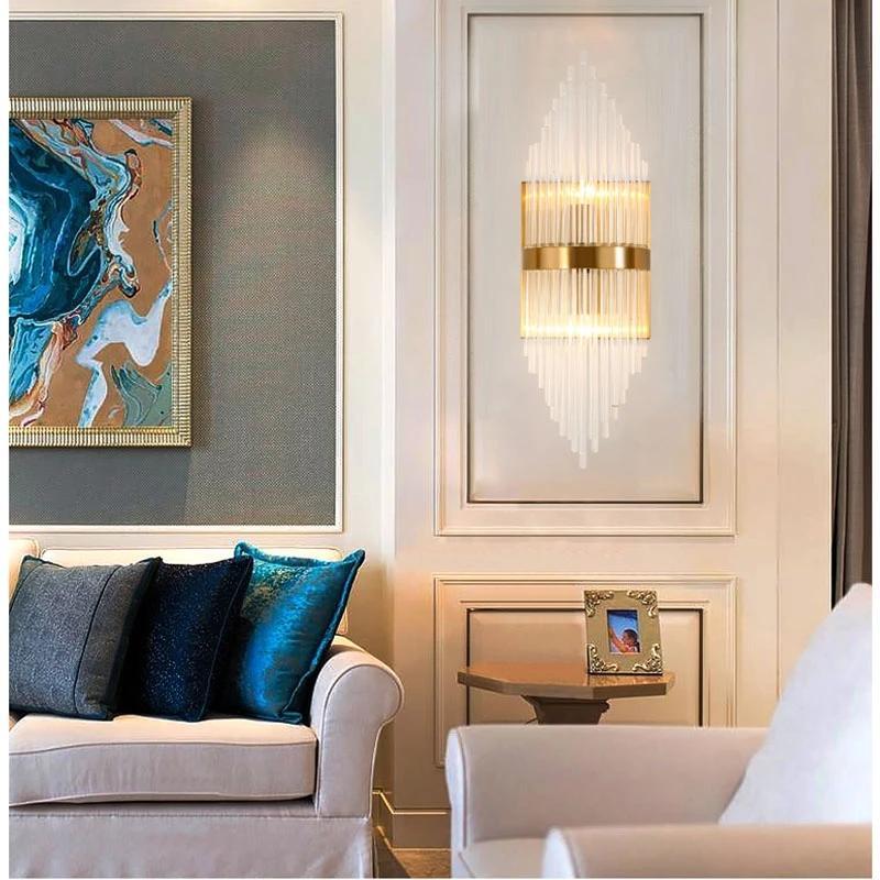 Parete dorata di lusso sconce Led cristallo Comodino decorativo di lettura principali moderne di cristallo del riparo della parete Leggi lampada della luce della parete del LED