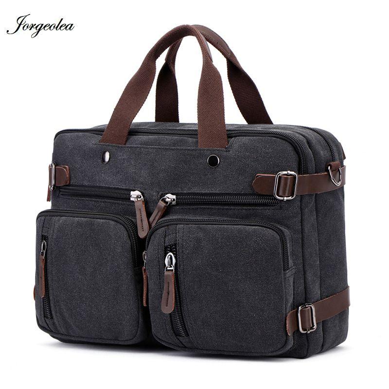 Jorgeolea Men Canvas Multi-functional Briefcase Handbag Male Hand pack Large Casual Business Laptop Pocket E0227 Q0112