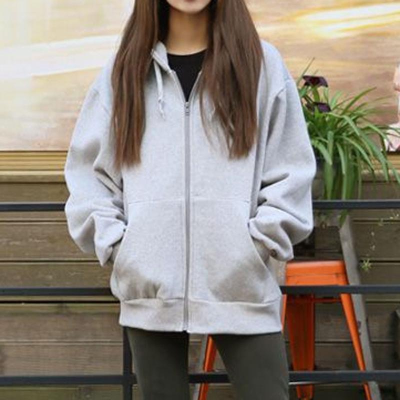 Mulheres casuais casas com capuz outono e inverno mulheres com capuz lã manga longa solta casual zip bolsos casaco feminino sólido